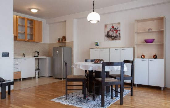 Urban Red Apartment - Living room, dining area, kitchen